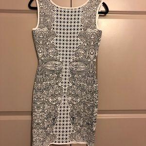 BCBGMaxAzria white and black dress. Heavy fabric.